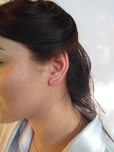 diseño profesional cliente primero disponibilidad en el reino unido Pendientes trepadores plata de ley 925: Amazon.es: Handmade