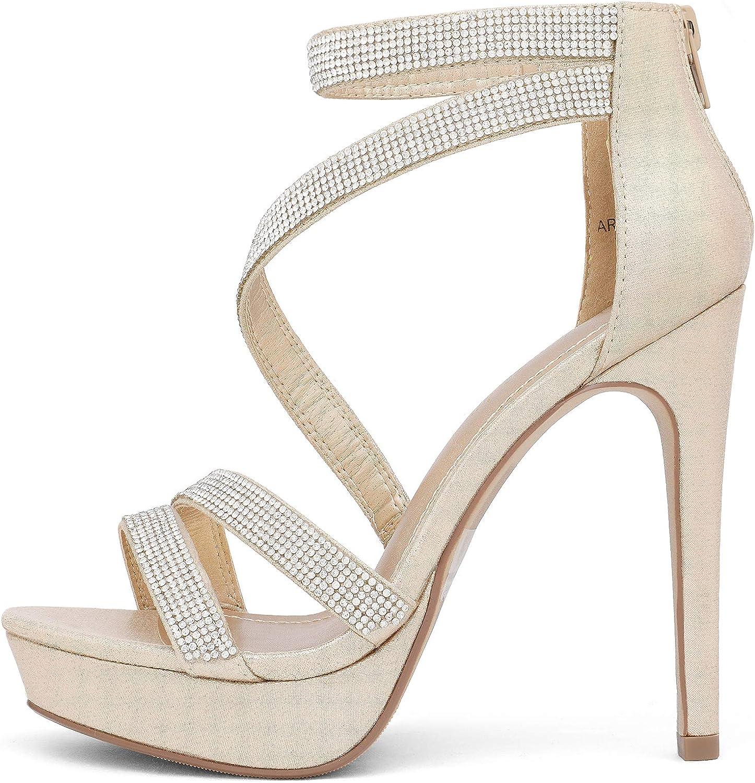 DREAM PAIRS Womens Stilettos Rhinestone High Heel Sandals Back Zip Wedding Party