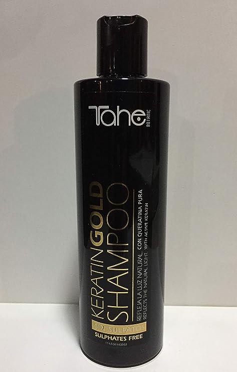 Tahe Power Gold Champú Sin Sulfatos de Keratina Pura Ultraligero y Sedoso con Aporte Extra de