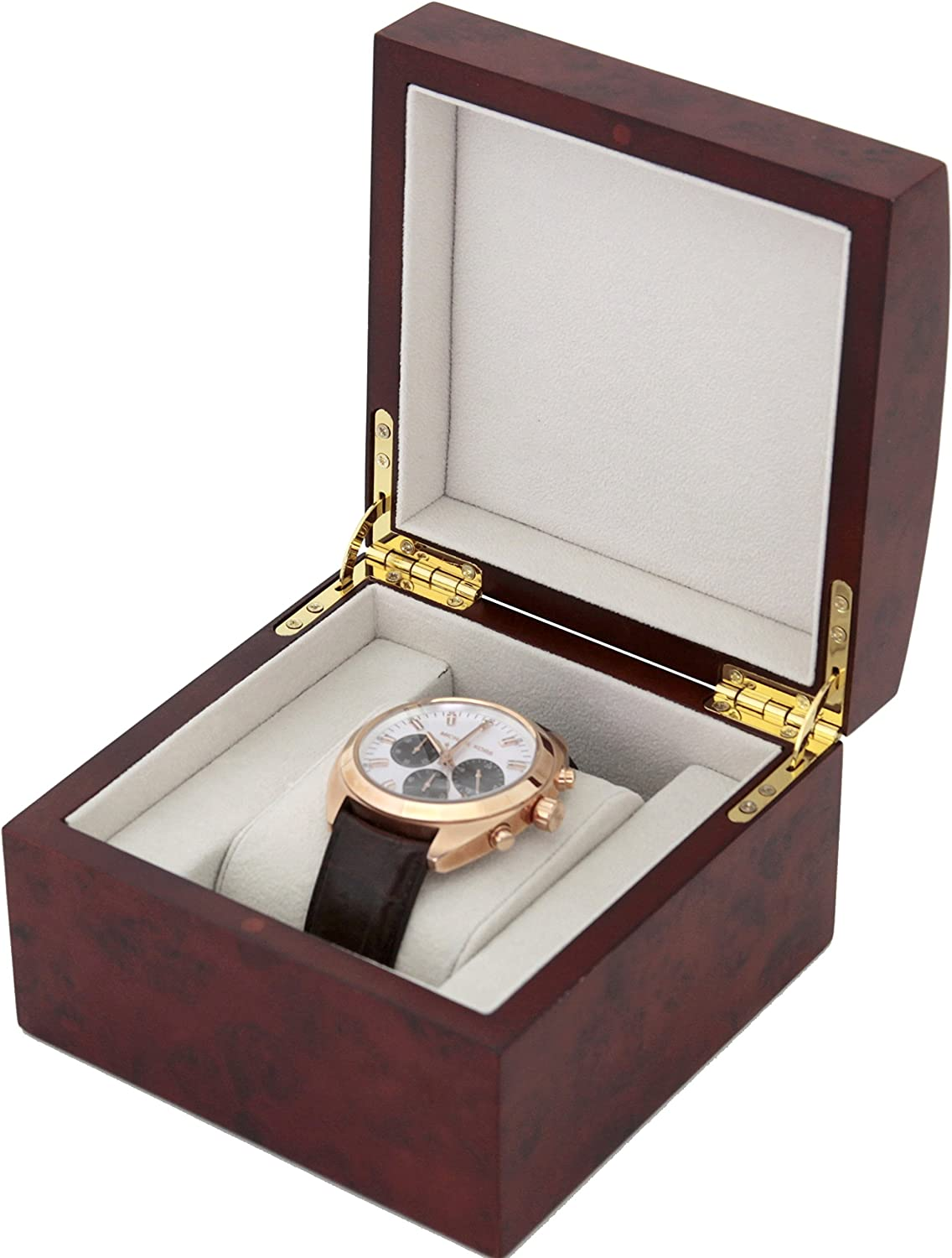 B000SE0BK2 Single Watch Box 1 Extra Large Watch Wood Removable Cushion 81lOxfqF0RL