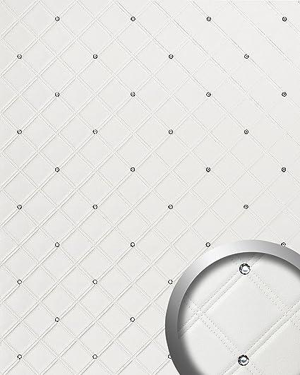 Revestimiento mural Estilo Cuero Cristales de Vidrio WallFace 15044 CRISTAL ROMBO Panel autoadhesivo blanco 2,