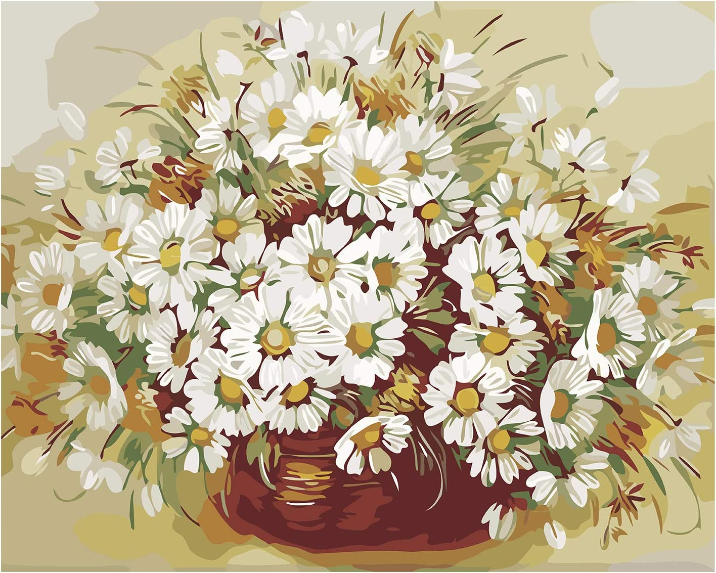DIY Paint by Numbers for Adults – Beautiful Flowers Paint by Number Kit for Home Wall Decoration, Wrinkle-Free Canvas, 16x20 inch (Chrysanthemum)