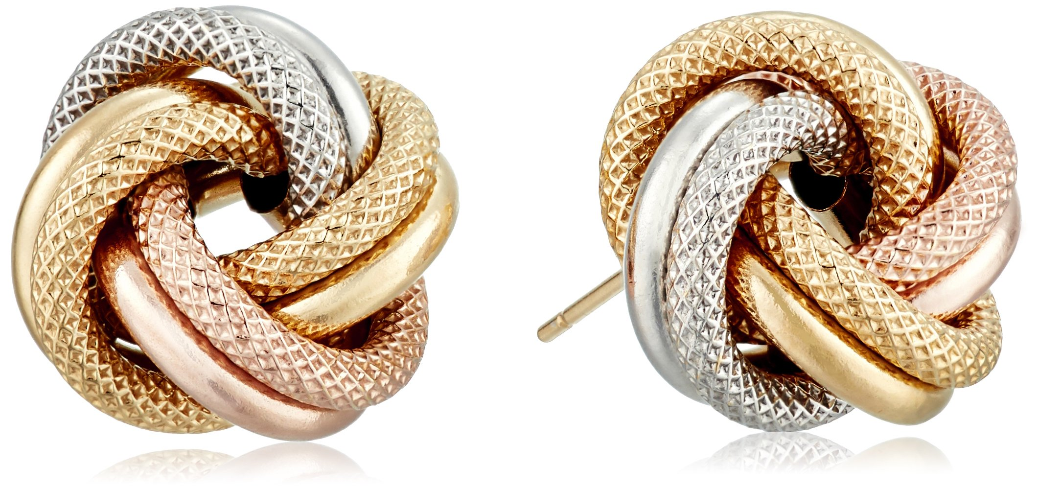 14k Gold Italian Tri-Color Love Knot Stud Earrings by Amazon Collection (Image #1)