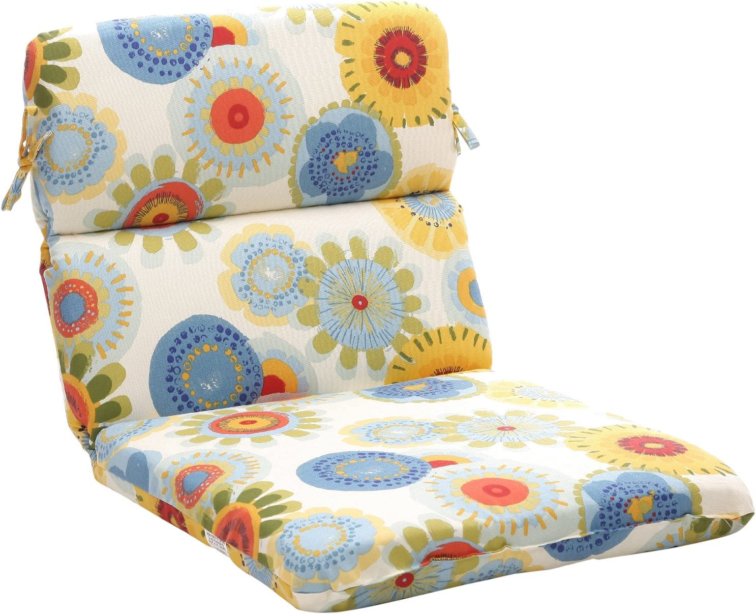"Pillow Perfect Outdoor/Indoor Crosby Confetti Round Corner Chair Cushion, 40.5"" x 21"", Multicolored"