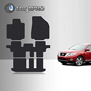 TOUGHPRO Floor Mat Accessories 1st + 2nd + 3rd Row Compatible with Nissan Pathfinder - All Weather - Heavy Duty - (Made in USA) - Black Rubber - 2013, 2014, 2015, 2016, 2017, 2018, 2019, 2020