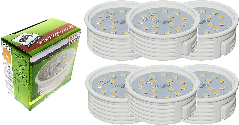 Trango 6er Set IP65 LED Einbaustrahler 6729IP65-062M6KSD aus Edelstahl gebürstet incl. 6x 6000K Tageslicht Weiß (kaltweiß) dimmbar Ultra Flach LED Modul für Bad, Dusche, Deckenstrahler, Deckenlampe 3000k Chrom Dim