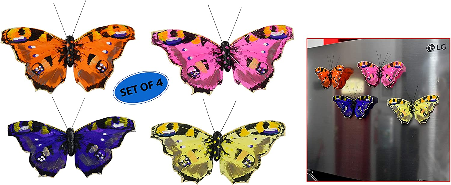 """HOME-X Larger Than Life Stunning Butterfly Refrigerator or Whiteboard Magnets, Locker Decorations, Painted Polyester Feathers, Vivid Bright Colors-4 pcs (6"""" D)"""