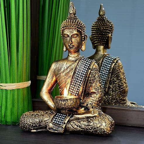 Buddha Statue Dekoration Wohnzimmer 26cm (bronze): Amazon.de ...