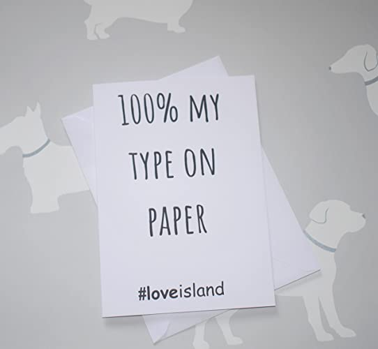% my type on paper love island card amazon co uk handmade 100% my type on paper love island card