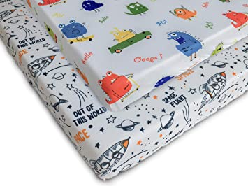 COSMOPLUS Stretch Fitted Pack n Play Playard Sheets Ultra Stretchy Soft,Whale//Cloud 2 Pack for Mini Crib Sheet Set,Pack n Play Mattress Cover