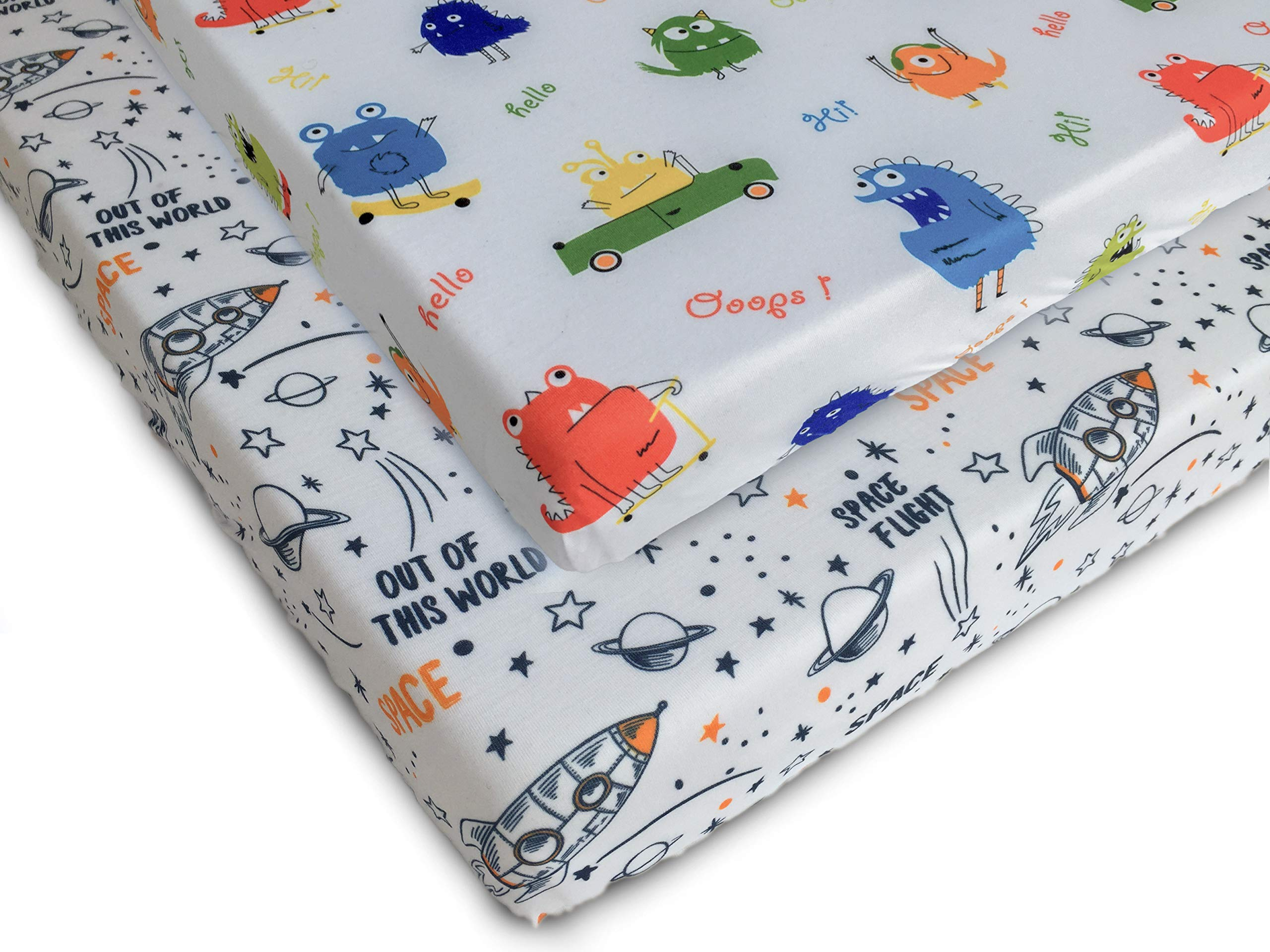 Pack n Play Fitted Pack n Play Playard Sheet Set-2 Pack Portable Mini Crib Sheets,Playard Mattress Cover,Super Soft Material, Cute Monsters