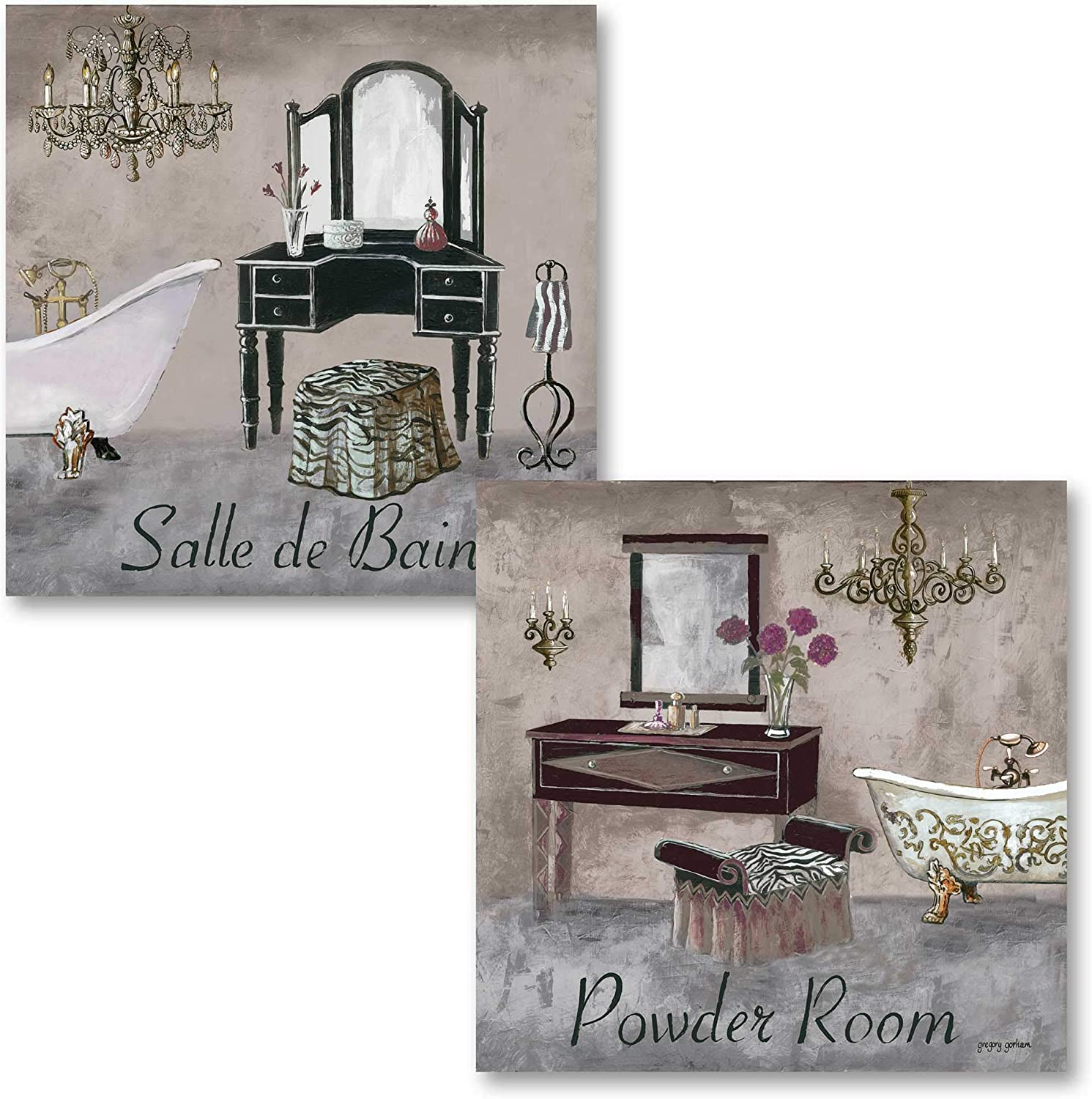 "Gango Home Decor's Bathroom Collection - Gray, Brown and Black French Vanity Mirror and Powder Room Art by Greg Gorham; 2-12x12"" Unframed Paper Posters"