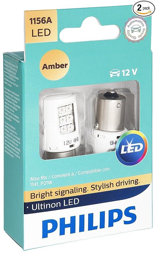 Philips 1156 Ultinon LED Bulb (Amber), 2 Pack