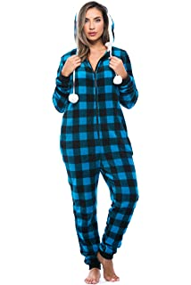 eb55ab45b6 Just Love Buffalo Plaid Adult Onesie Sherpa Lined Hoody One Piece Pajamas