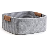 CHICVITA Rectangle Cotton Rope Woven Basket with Handles for Books, Magazines, Toys - Decorative Rectangle Basket for…