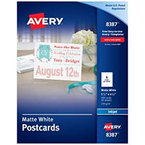 "Avery Printable Postcards for Inkjet Printers, 4.25"" x 5.5"", 200 White Cards (8387)"