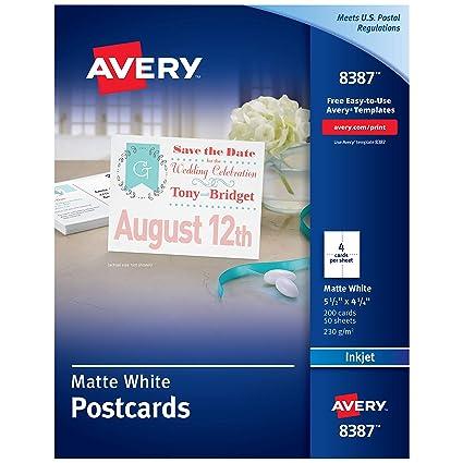 Avery Printable Postcards for Inkjet Printers, 4.25