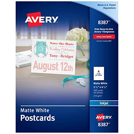 image about Printable Postcards Free titled Avery Printable Postcards for Inkjet Printers, 4.25\