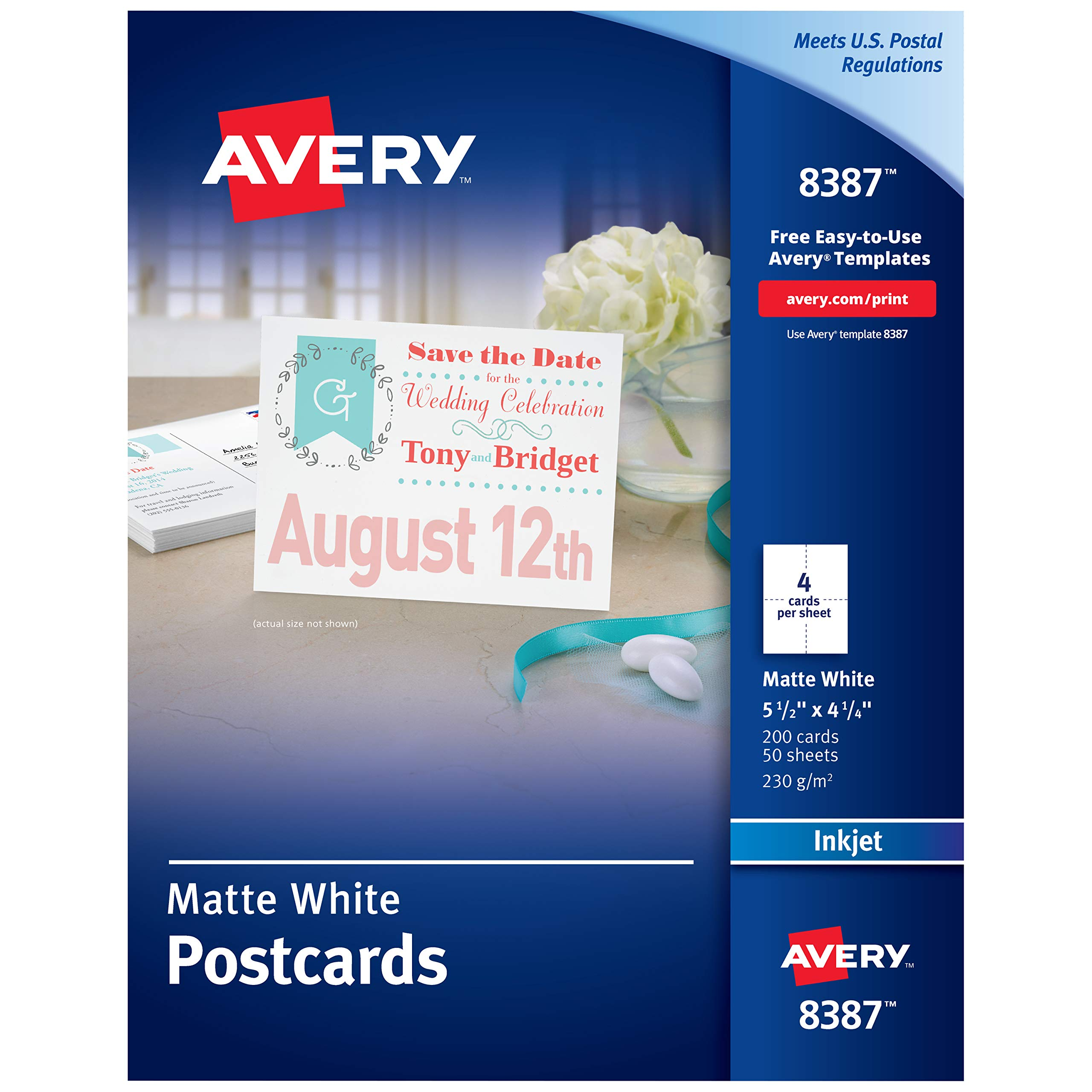 "Avery Printable Postcards, Inkjet, 4.25"" x 5.5"", 200 White Cards (8387)"