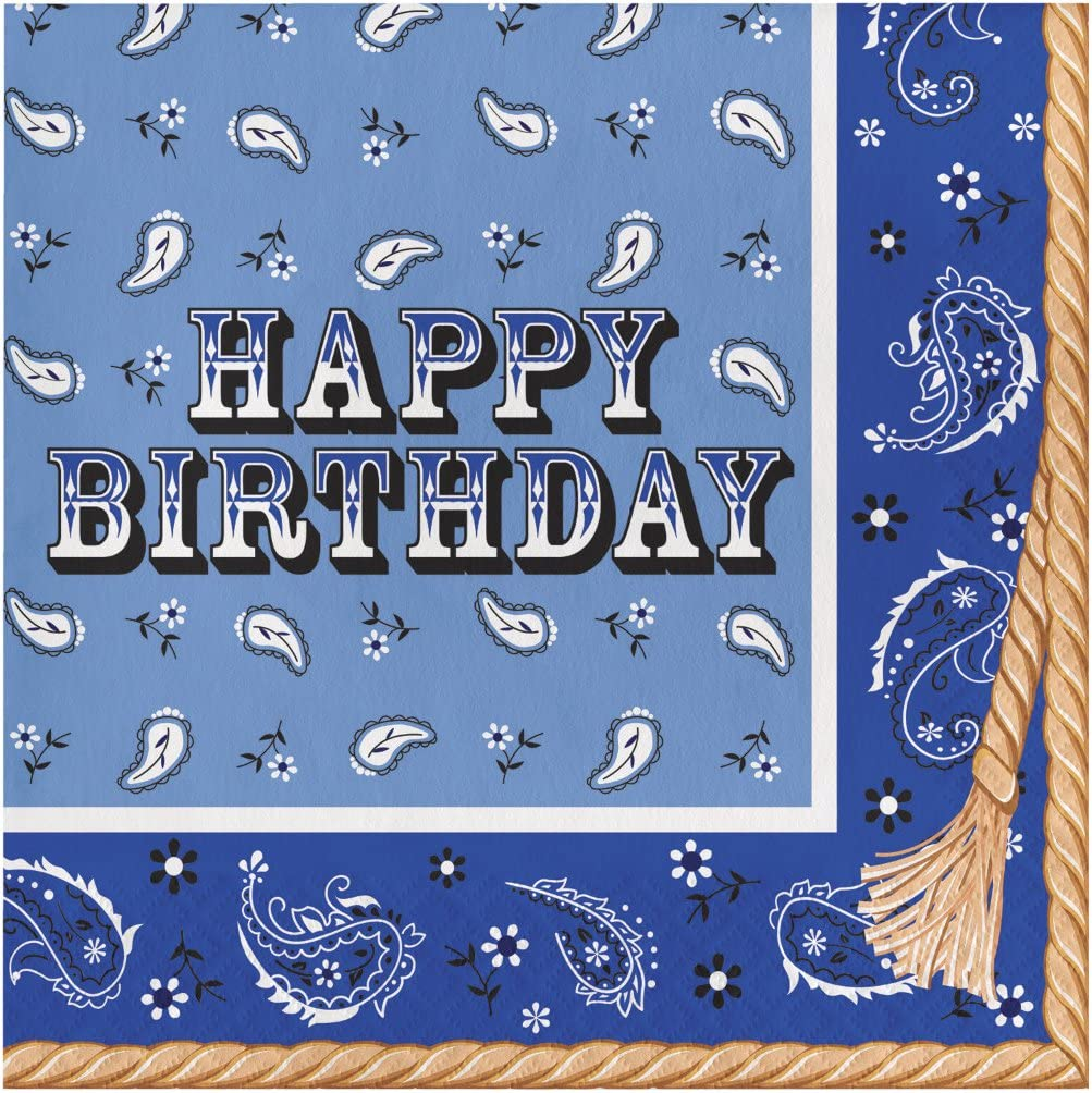 Creative Converting 16 Count Paper Lunch Napkins, Happy Birthday, Blue Bandana Cowboy