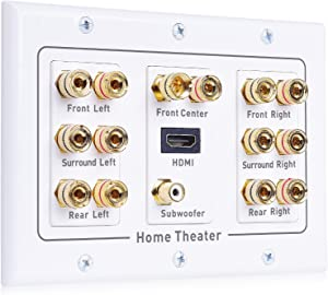 Cable Matters Triple Gang 7.1 Speaker Wall Plate with HDMI (Home Theater Wall Plate, Banana Plug Wall Plate) in White