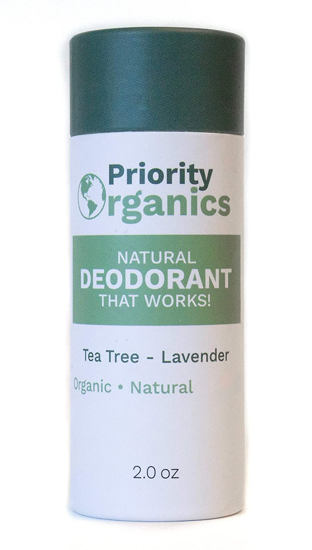 NEW - Priority Organics - Natural, Organic Deodorant - Plastic-Free, Healthy & Safe (Tea Tree - Lavender, 2 OZ)