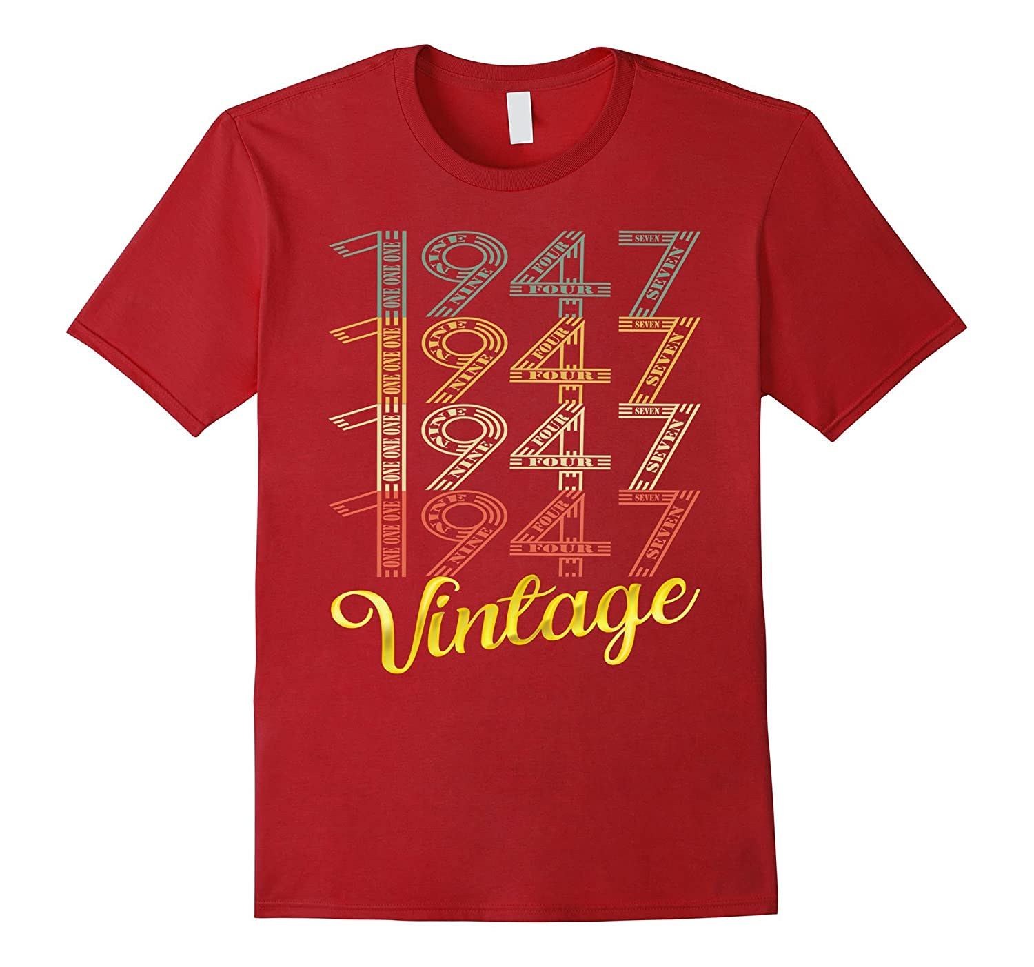 Vintage 1947 Gold 70 Years Old Fun 70th Birthday Shirt Gifts-FL