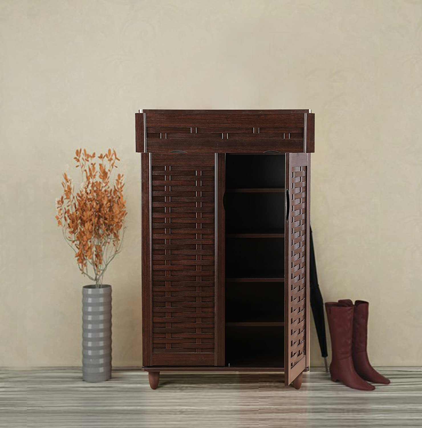 HomeTown Alton Engineered Wood Shoe Storage Rack in Wenge Color