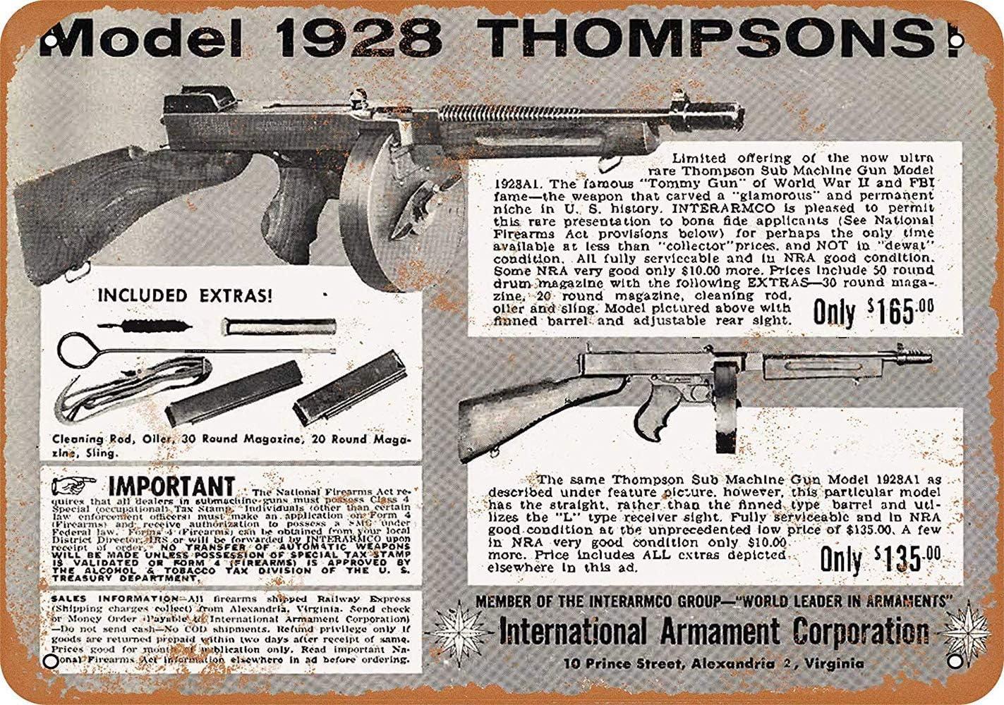 aoeiu Model Thompson Submachine Guns Cartel de Metal Decoración de ...