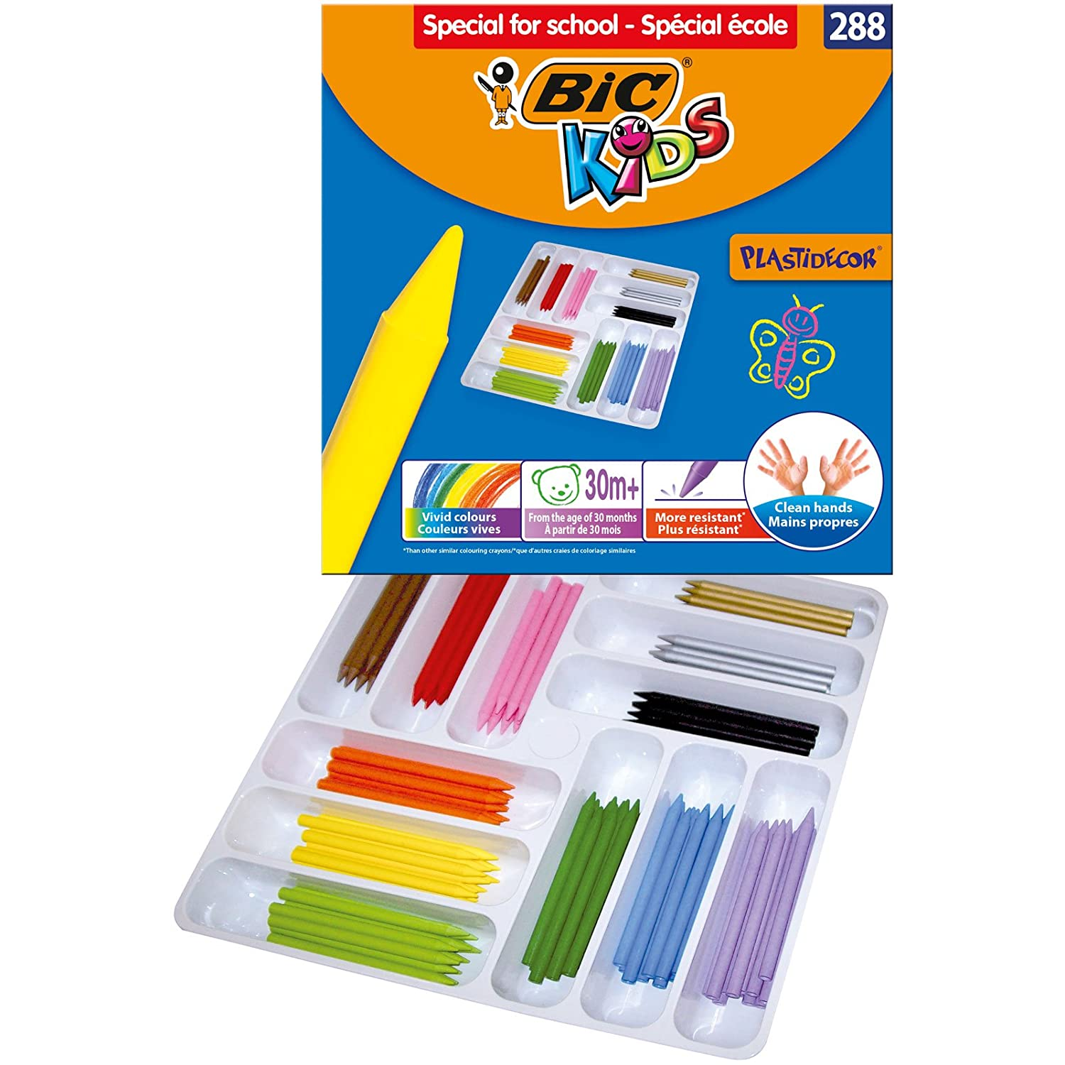 BIC Kids Plastidecor Colouring Crayons - Assorted Colours, Cardboard Wallet of 12 945764 B00008D0TK
