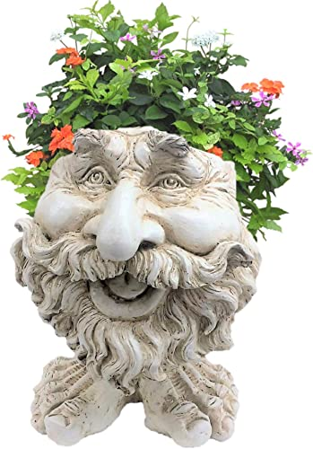 Homestyles 13 in. Antique White Ole Salty The Muggly Statue Face Planter Holds 5 in. Pot