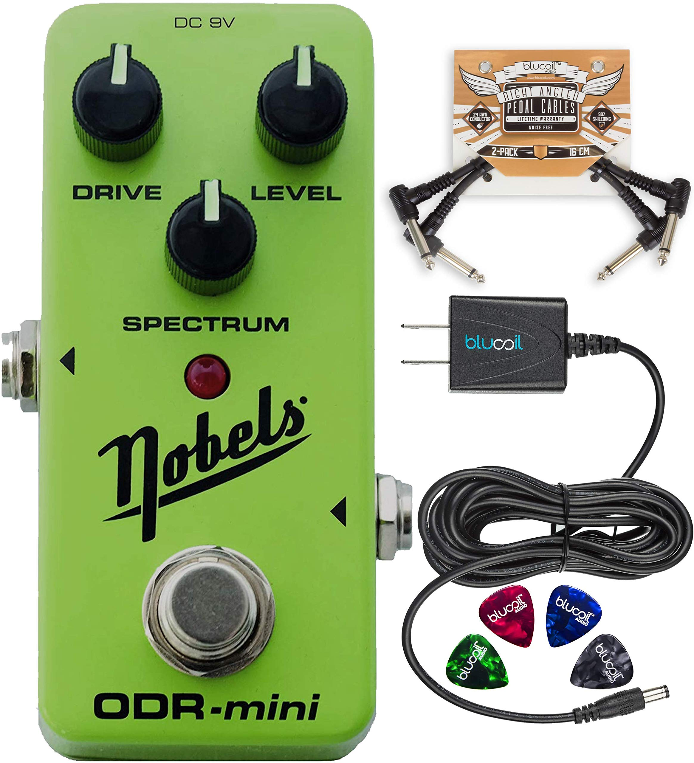 Nobels ODR-Mini Overdrive Pedal Bundle with Blucoil Slim 9V 670ma Power Supply AC Adapter, 2-Pack of Pedal Patch Cables, and 4-Pack of Celluloid Guitar Picks