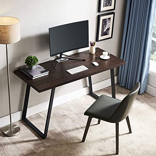 AMOAK Computer Desk 47 , Modern Writing Desk, Simple Study Table, Industrial Office Desk, Sturdy Laptop Table for Home Office, Brown