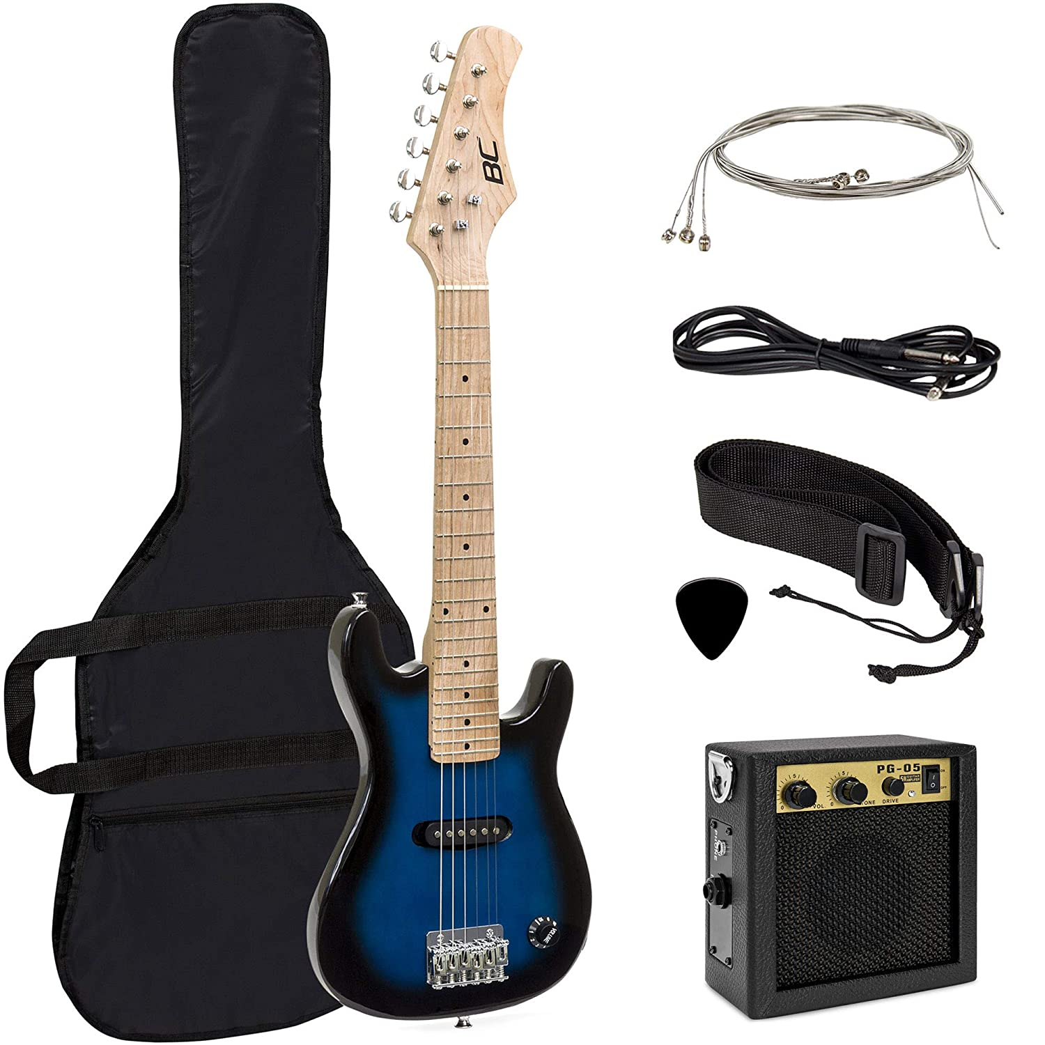 "Best Choice Products Electric Guitar Kids 30"" Blue Guitar W/ Amp, Case, Strap (Blue)"