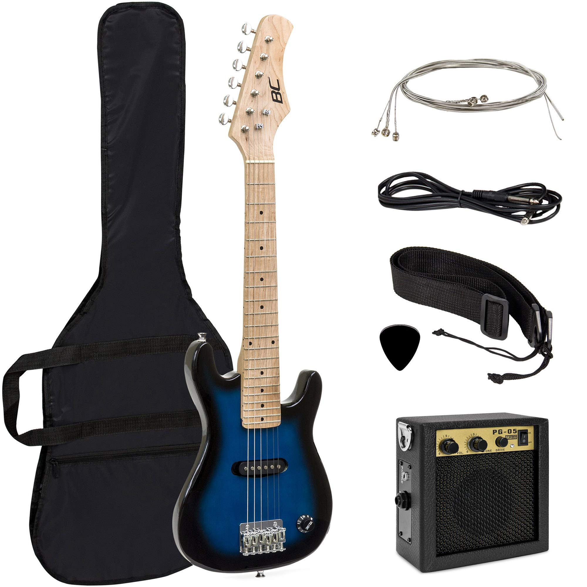 Best Choice Products 30in Kids 6-String Electric Guitar Beginner Starter Kit w/ 5W Amplifier, Strap, Case, Strings, Picks - Blue by Best Choice Products