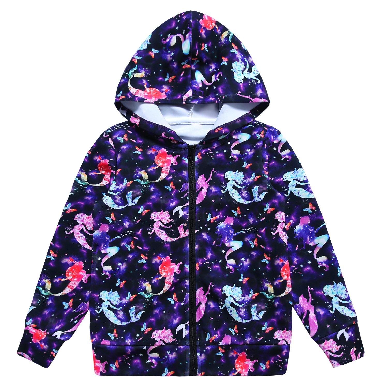 Jxstar Carters Jacket Boys Hoodie Zip-up Hoodie Pullover Hoodie Kids Pullover Boys Jacket Rainbow Jacket 3d Print Starry Mermaid 140