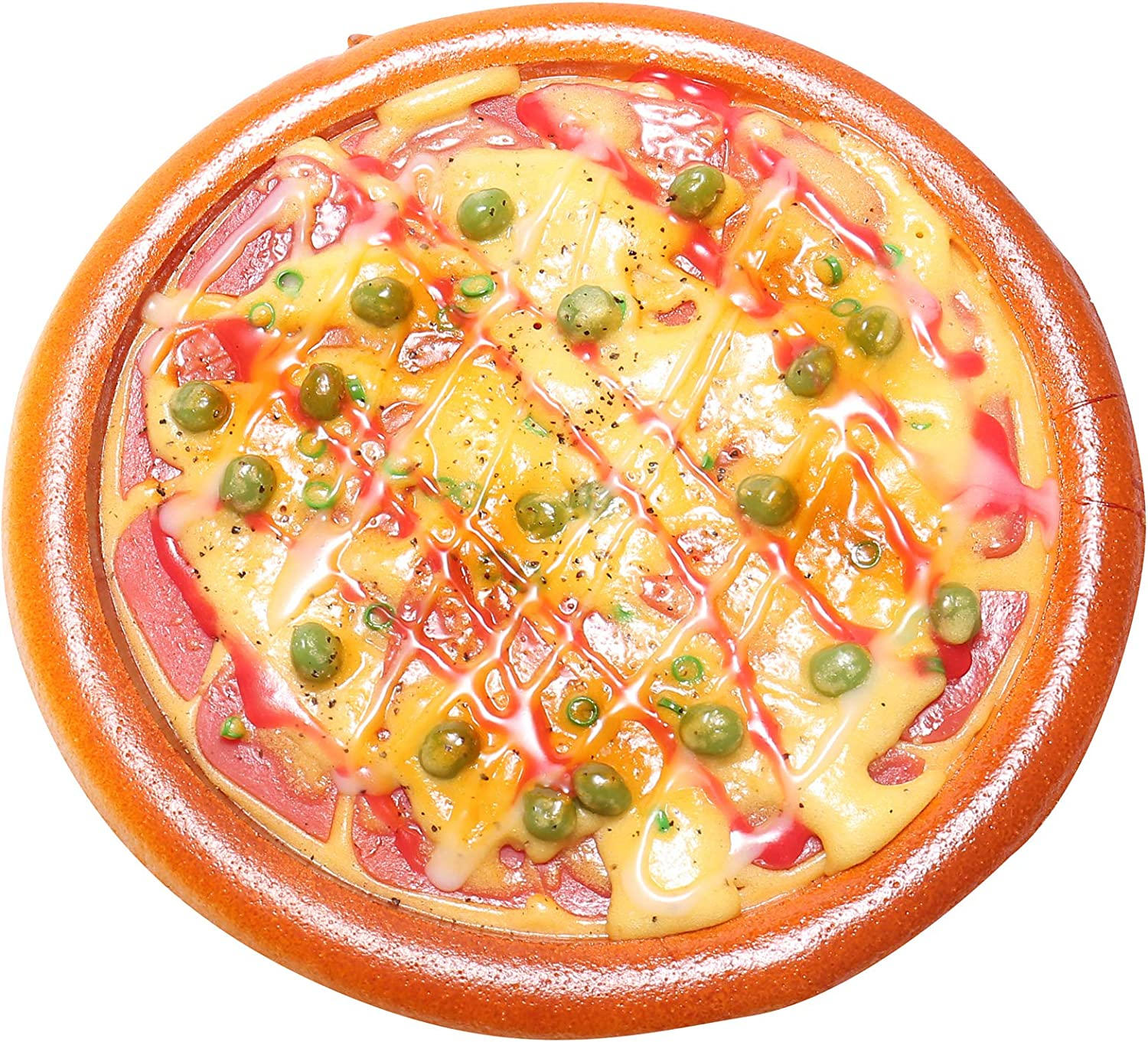 Fake Pizza for Display, Artificial Seafood Hotdog Peigen Play Bake Foods, Perfect for Kids Pretend Cook Party, Kitchen Realistic Foods Decorations, 1 Piece (Bacon Pizza)