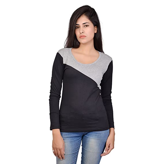 c0e288e4555 Fubura Womens Cotton Casual T-Shirts Round Neck Full Sleeve with Black Grey  Colour (
