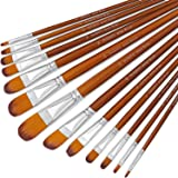 Artist Filbert Paint Brushes Set 13pcs, Soft Anti-Shedding Nylon Hair Wood Long Handle for Acrylic Oil Watercolor…