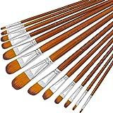 DUGATO Artist Filbert Paint Brushes Set 13pcs, Soft Anti-Shedding Nylon Hair Wood Long Handle for Acrylic Oil Watercolor…