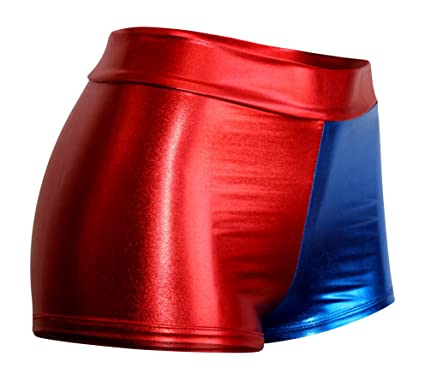 Amazon.com: HIGH WAIST Metallic Red and Blue Booty Shorts: Clothing