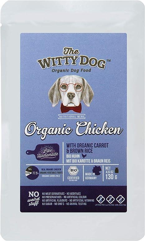 THE WITTY DOG, Comida Húmeda para Perros, 100% Certificada Bio ORGÁNICA, Alimento Completo: Pollo (77,5%) con Zahahoria & Arroz Integral, Bolsa 15x130 ...