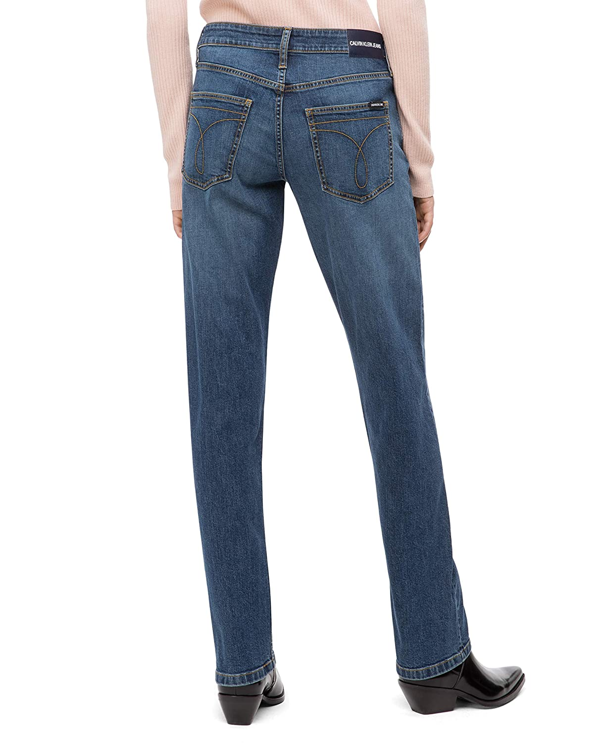 Calvin Klein Womens Mid Rise Straight Fit Jeans