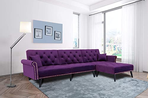 Mid Century Upholstered Convertible Sectional Sofa Futon Couch Chaise Sleeper with Adjustable Back Sofa Bed Purple