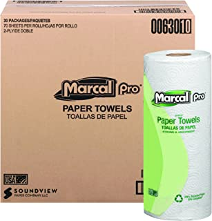 product image for Marcal 630 100% Recycled Paper Towel Roll, 2-Ply Perforated, White, 70 Sheets per Roll (Pack of 30)