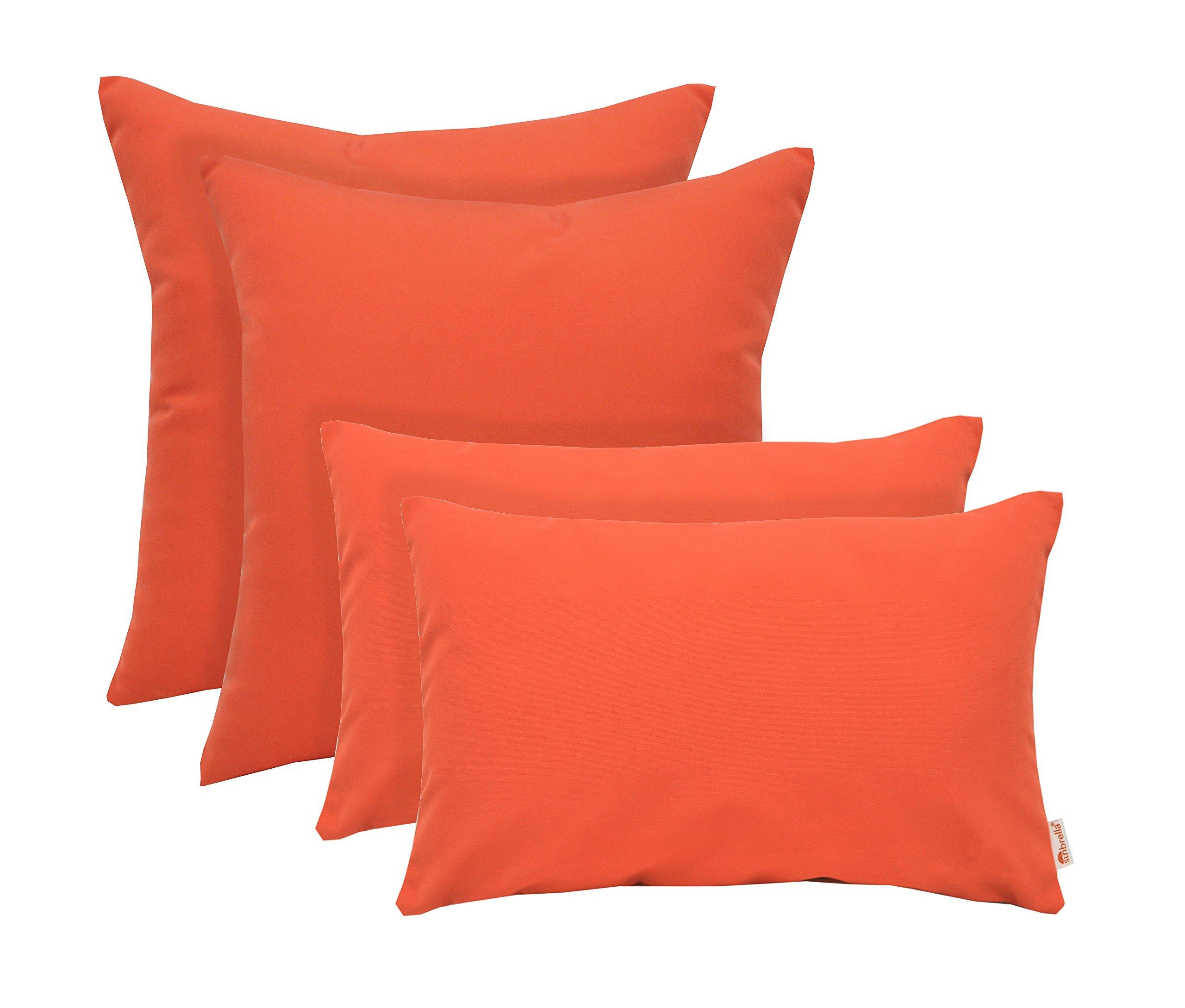 RSH Décor Set of 4 Indoor/Outdoor Square & Rectangle Lumbar Throw Pillows Sunbrella Canvas Melon ~ Vibrant Orange (12'' x 20'' & 17'' x 17'')