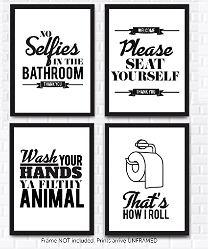 Typography bathroom wall art pictures set of 4 funny bathroom quotes rules