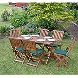 Kingfisher FSWSET4 Concord - Set con tavolo e sedie da giardino pieghevoli, 7 pezzi