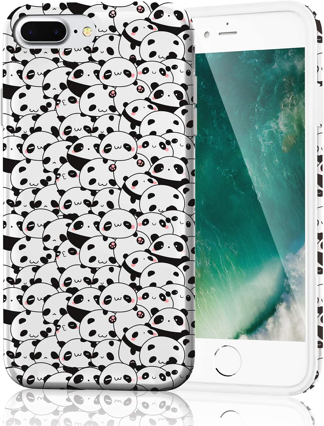Cute Panda Case for iPhone 8 Plus, Lightweight Thin Flexible Soft TPU Raised Edges Glossy Rubber Silicone Protective Phone Cover for iPhone 7 Plus and iPhone 8 Plus