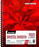 """Koh-I-Noor Bristol Smooth Bright White Paper Pad with In and Out Pages, 270 GSM, 9 x 12"""", Side Wire-Bound, 20 Sheets per Pad (26170411013)"""